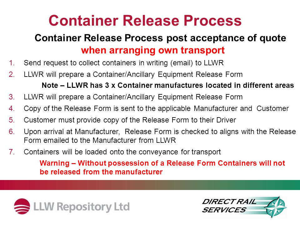 Container Release Process Container Release Process post acceptance of quote when arranging own transport 1.Send request to collect containers in writ