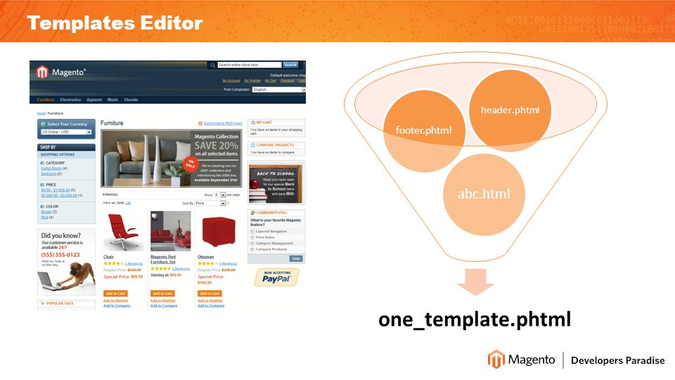 Templates Editor one_template.phtml abc.html footer.phtml header.phtml