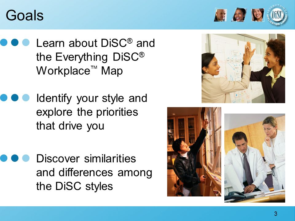 3 Identify your style and explore the priorities that drive you Goals Learn about DiSC ® and the Everything DiSC ® Workplace Map Discover similarities and differences among the DiSC styles