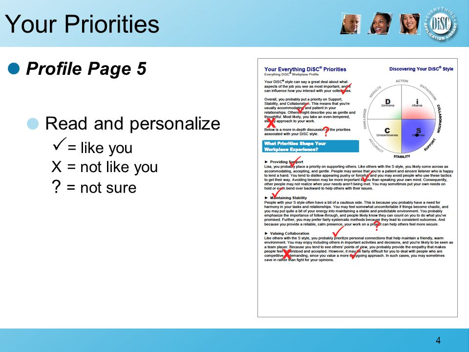 4 Your Priorities Read and personalize = like you X = not like you ? = not sure Profile Page 5 x ? ? x