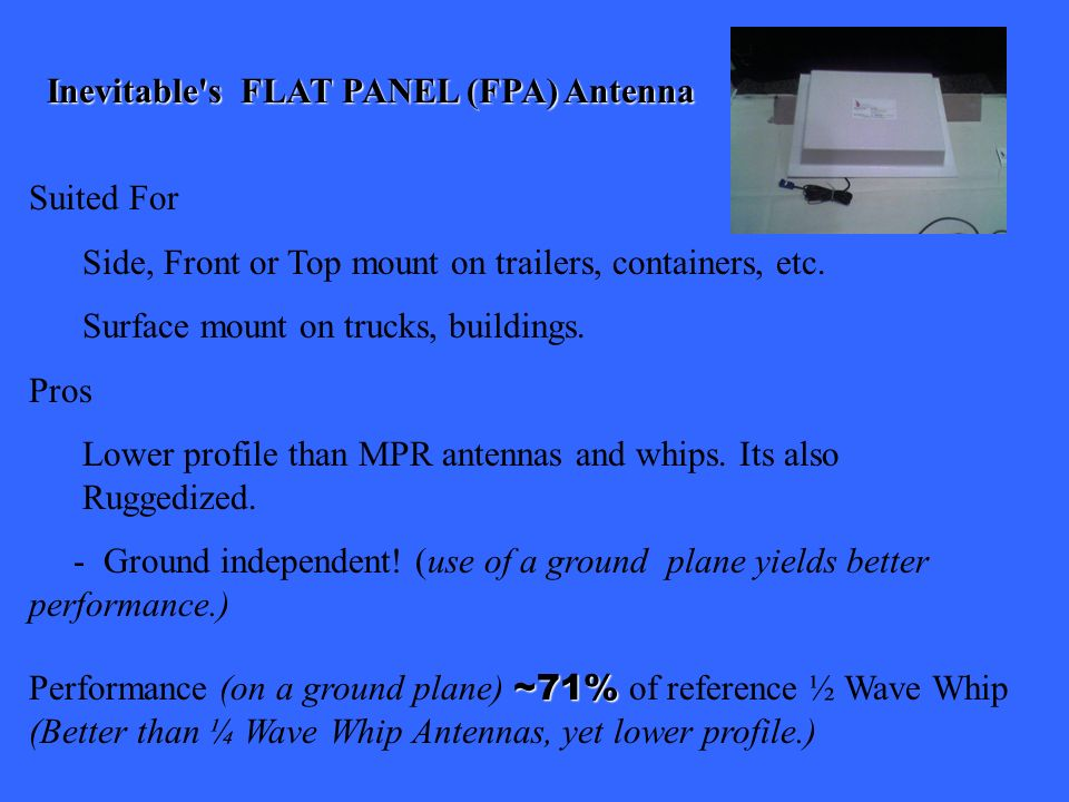 Inevitable s FLAT PANEL (FPA) Antenna Suited For Side, Front or Top mount on trailers, containers, etc.