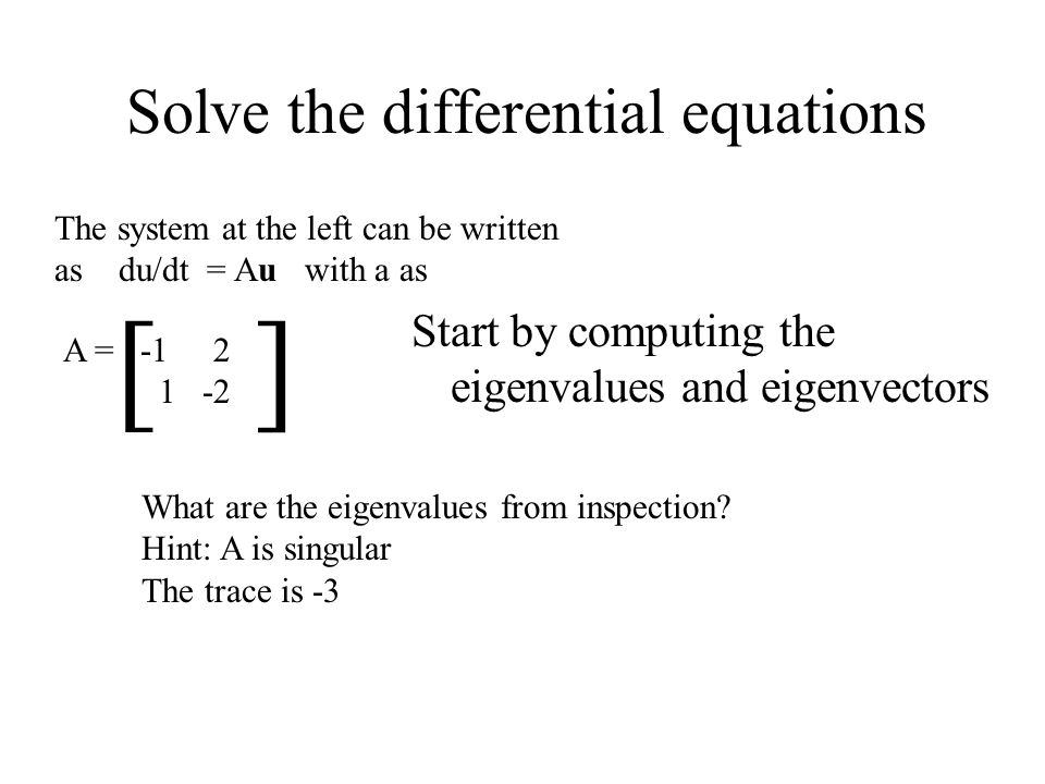 Solve the differential equations A = -1 2 1 -2 [ ] The system at the left can be written as du/dt = Au with a as What are the eigenvalues from inspect