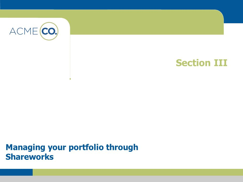 Section III Managing your portfolio through Shareworks