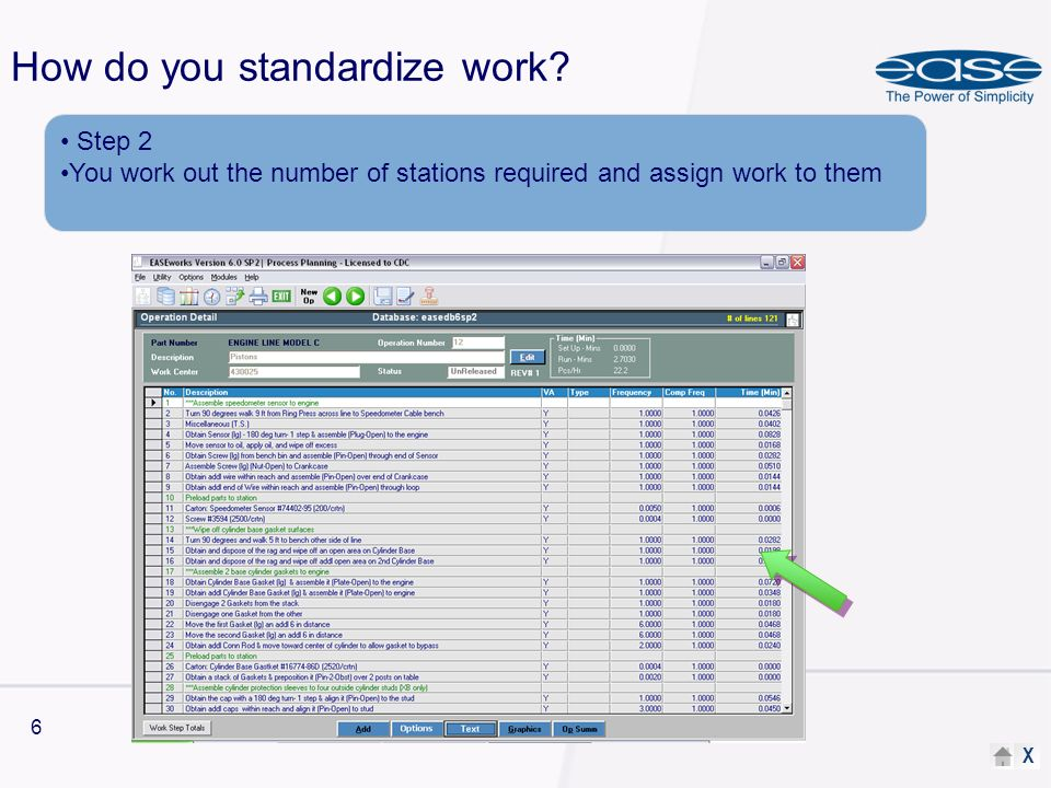X 6 How do you standardize work.