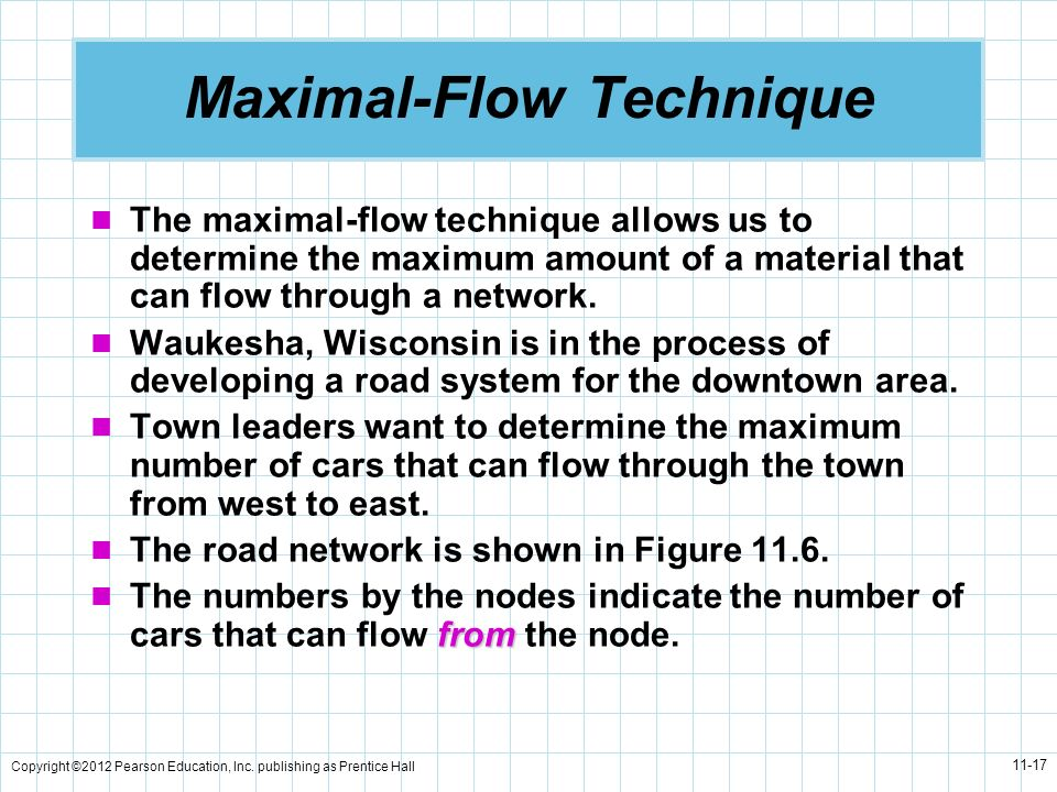 Copyright ©2012 Pearson Education, Inc. publishing as Prentice Hall 11-17 Maximal-Flow Technique The maximal-flow technique allows us to determine the