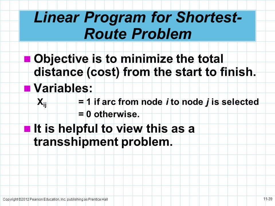Copyright ©2012 Pearson Education, Inc. publishing as Prentice Hall 11-39 Linear Program for Shortest- Route Problem Objective is to minimize the tota