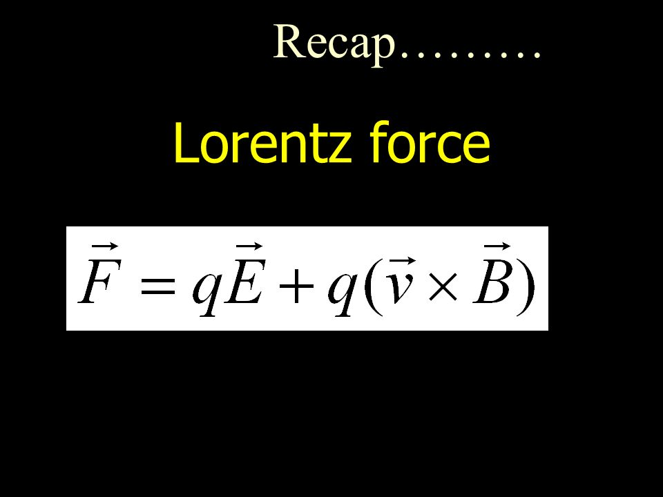 Lorentz force Recap………