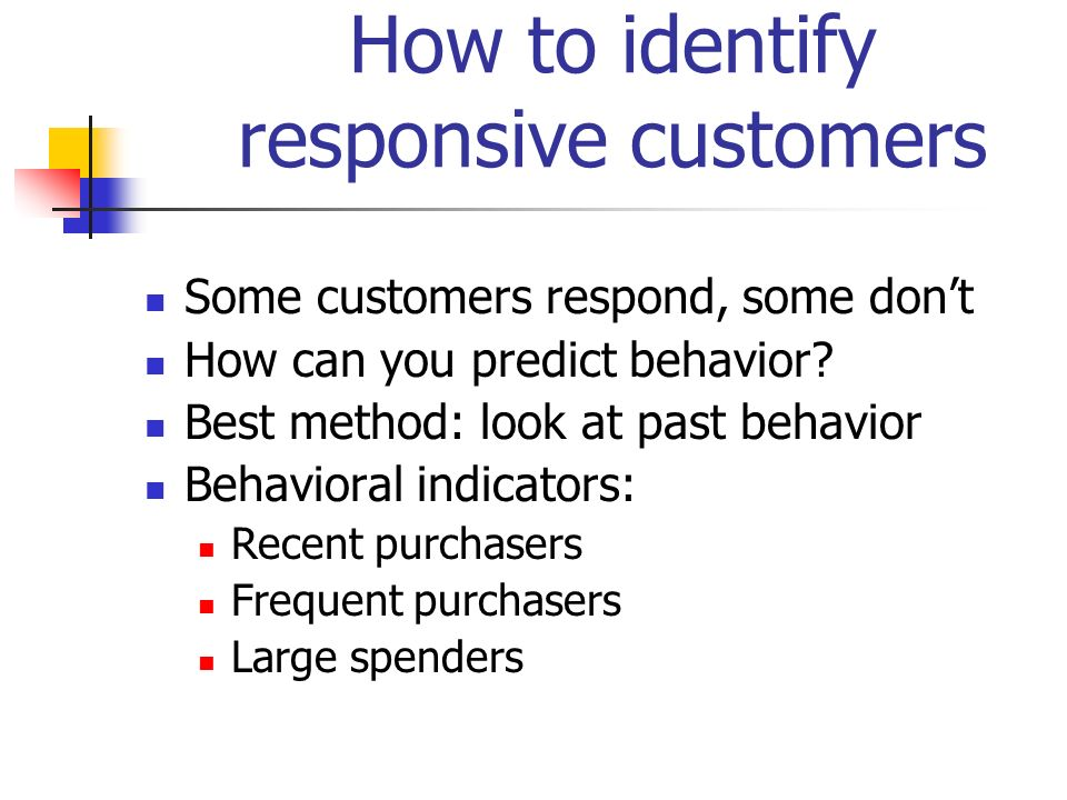 How to identify responsive customers Some customers respond, some dont How can you predict behavior? Best method: look at past behavior Behavioral ind