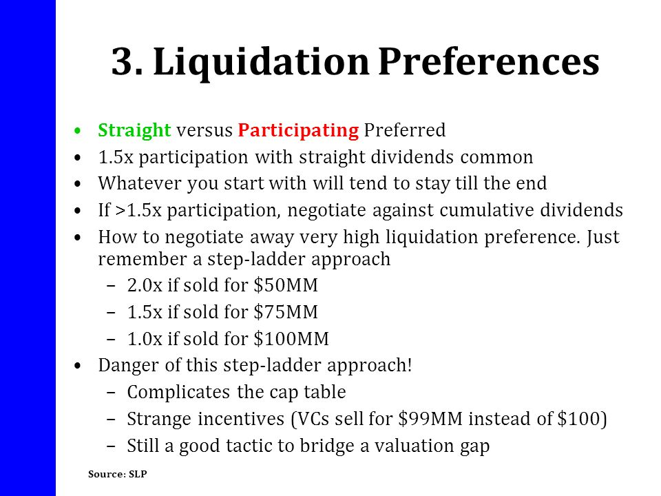 3. Liquidation Preferences Straight versus Participating Preferred 1.5x participation with straight dividends common Whatever you start with will tend