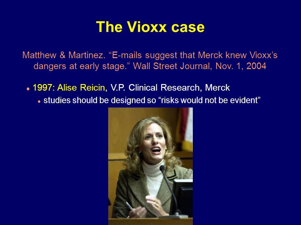 Matthew & Martinez. E-mails suggest that Merck knew Vioxxs dangers at early stage. Wall Street Journal, Nov. 1, 2004 The Vioxx case 1997: Alise Reicin