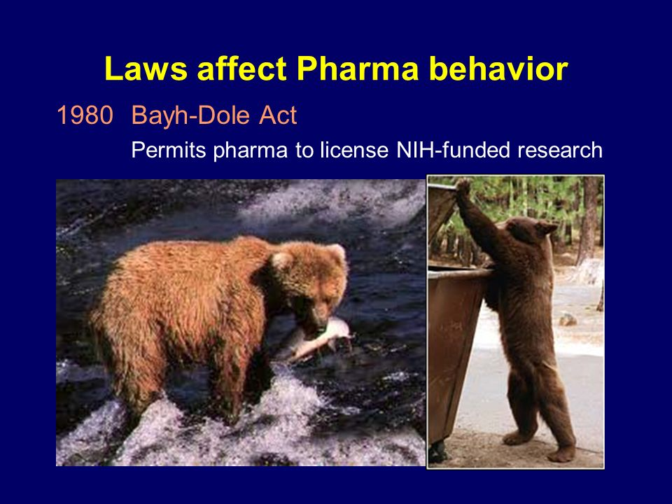 Laws affect Pharma behavior 1980Bayh-Dole Act Permits pharma to license NIH-funded research