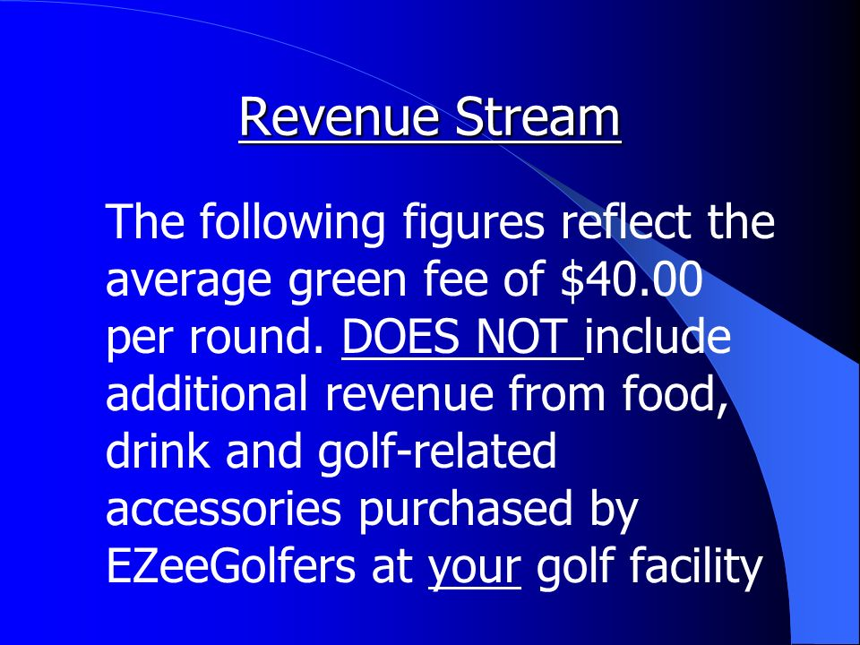Revenue Stream The following figures reflect the average green fee of $40.00 per round.