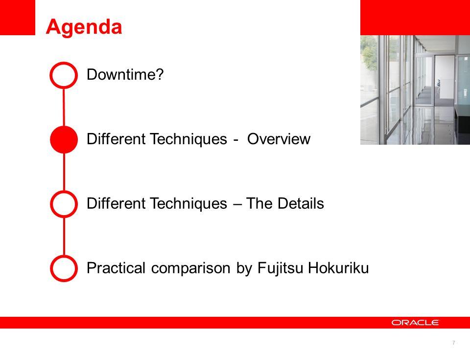 7 Agenda Downtime? Different Techniques – The Details Practical comparison by Fujitsu Hokuriku Different Techniques - Overview