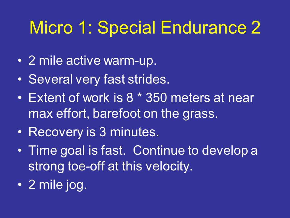Micro 1: Special Endurance 2 2 mile active warm-up. Several very fast strides. Extent of work is 8 * 350 meters at near max effort, barefoot on the gr