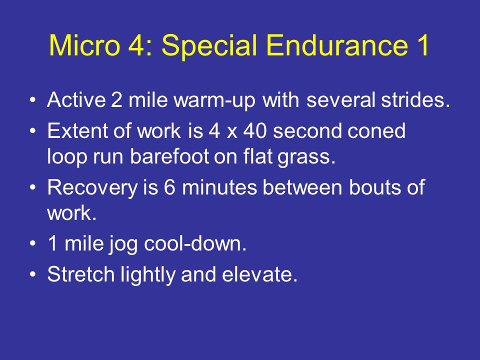 Micro 4: Special Endurance 1 Active 2 mile warm-up with several strides. Extent of work is 4 x 40 second coned loop run barefoot on flat grass. Recove