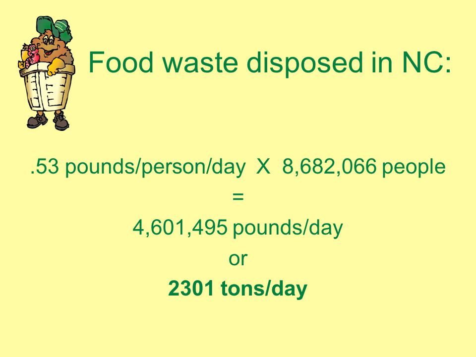 Food waste disposed in NC:.53 pounds/person/day X 8,682,066 people = 4,601,495 pounds/day or 2301 tons/day