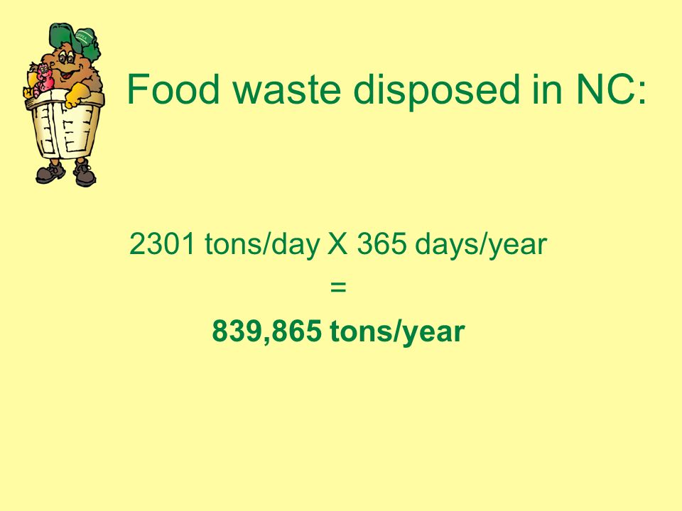 Food waste disposed in NC: 2301 tons/day X 365 days/year = 839,865 tons/year