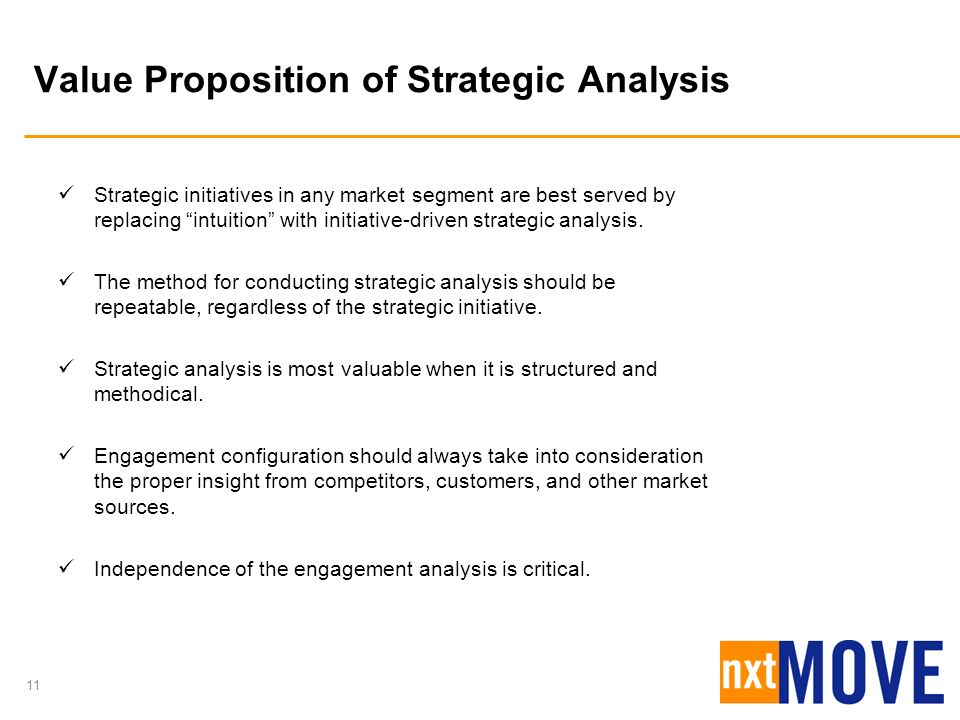 11 Value Proposition of Strategic Analysis Strategic initiatives in any market segment are best served by replacing intuition with initiative-driven s