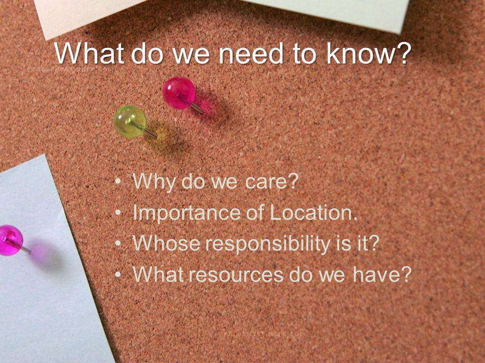 What do we need to know? Why do we care? Importance of Location. Whose responsibility is it? What resources do we have?
