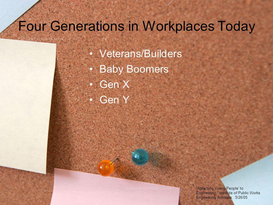 Four Generations in Workplaces Today Veterans/Builders Baby Boomers Gen X Gen Y Attracting Young People to Engineering. Institute of Public Works Engi