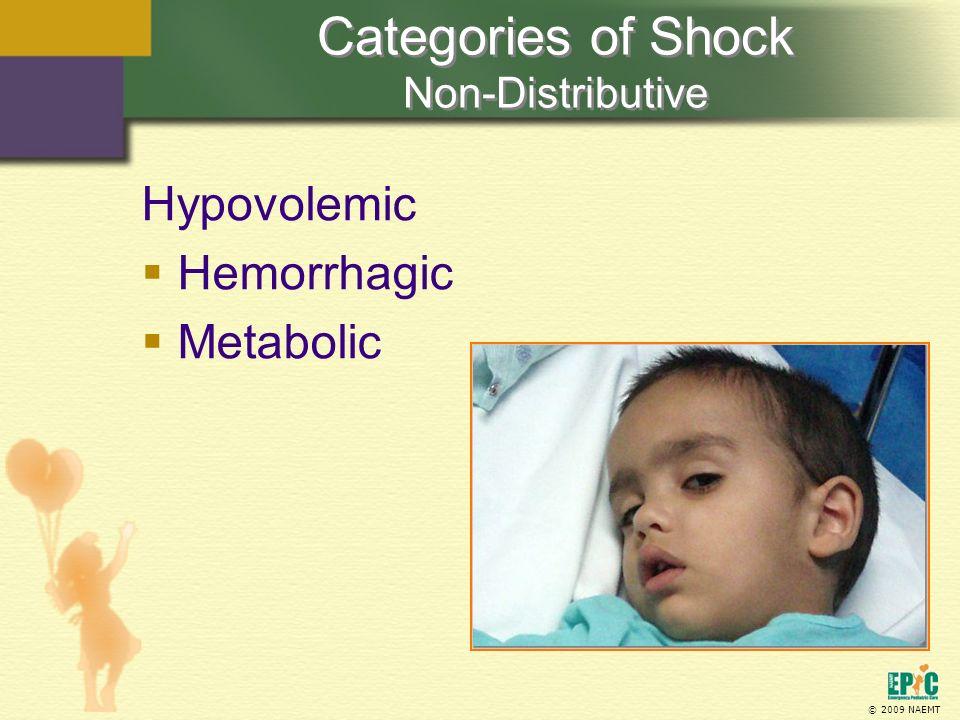 © 2009 NAEMT Hypovolemic Hemorrhagic Metabolic Categories of Shock Non-Distributive
