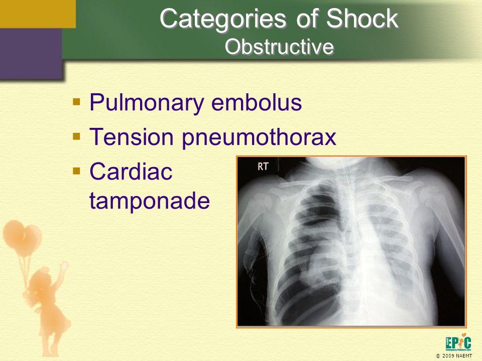 © 2009 NAEMT Pulmonary embolus Tension pneumothorax Cardiac tamponade Categories of Shock Obstructive