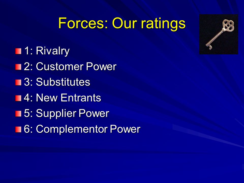 Forces: Our ratings 1: Rivalry 2: Customer Power 3: Substitutes 4: New Entrants 5: Supplier Power 6: Complementor Power