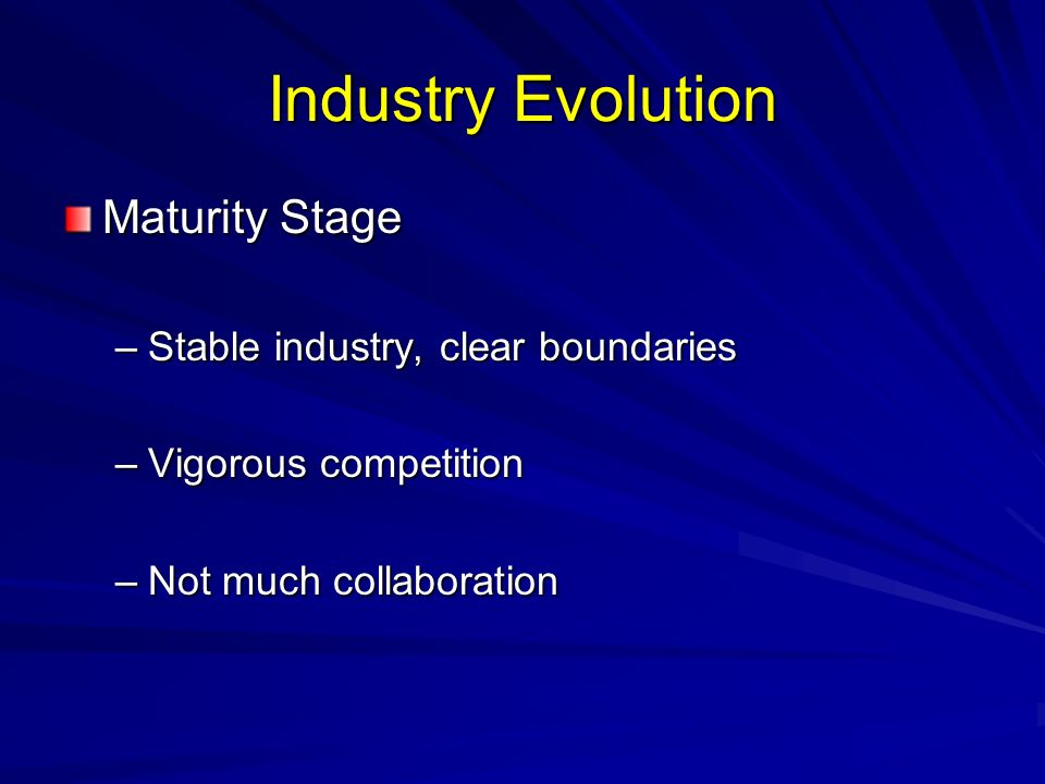Industry Evolution Maturity Stage –Stable industry, clear boundaries –Vigorous competition –Not much collaboration