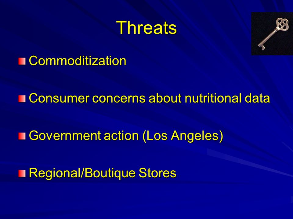 Threats Commoditization Consumer concerns about nutritional data Government action (Los Angeles) Regional/Boutique Stores