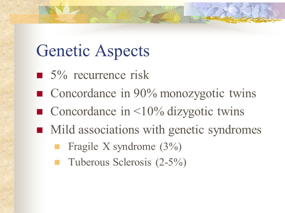 Genetic Aspects 5% recurrence risk Concordance in 90% monozygotic twins Concordance in <10% dizygotic twins Mild associations with genetic syndromes F