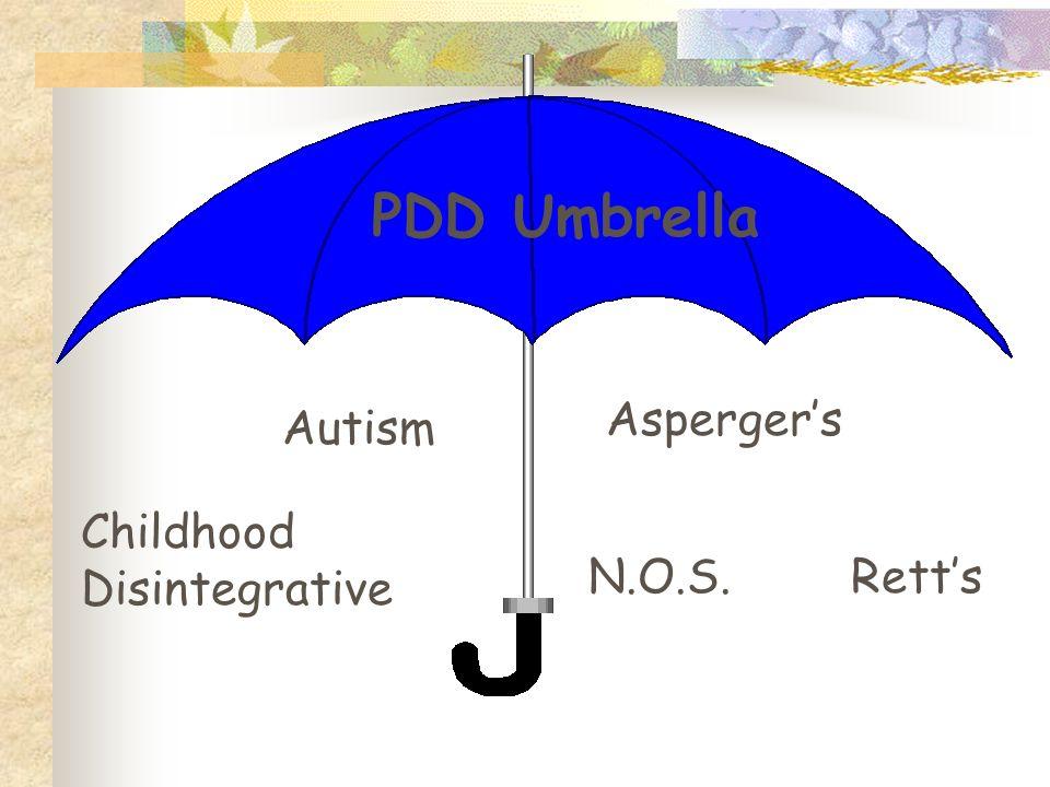 Autism N.O.S. Aspergers Retts Childhood Disintegrative PDD Umbrella