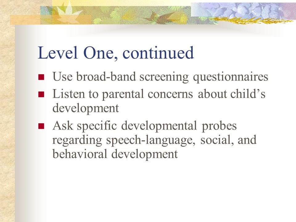 Level One, continued Use broad-band screening questionnaires Listen to parental concerns about childs development Ask specific developmental probes re