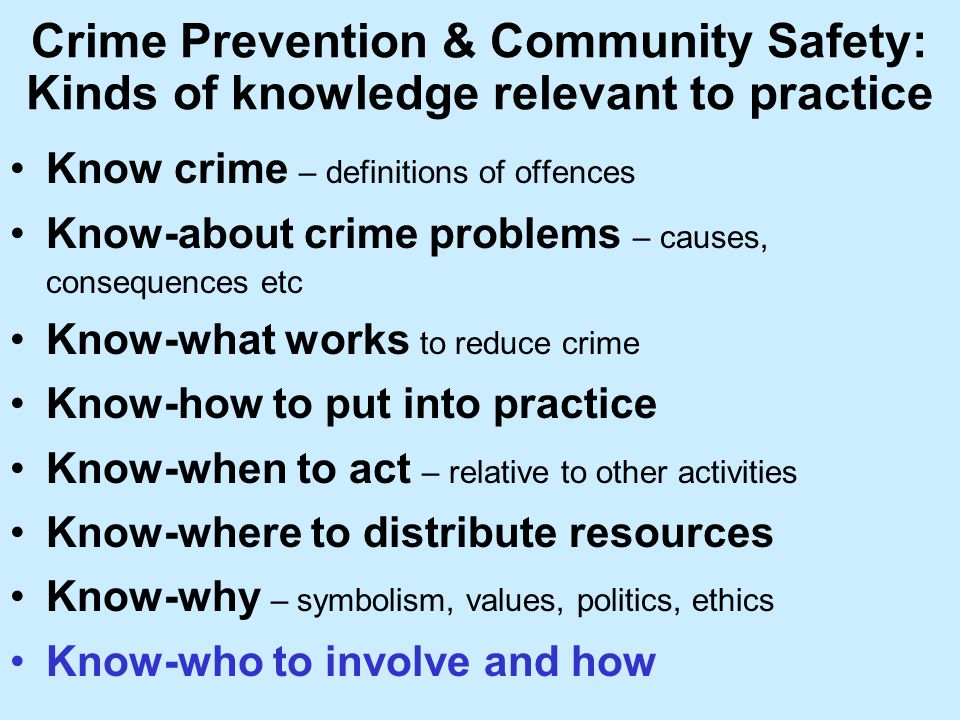 Crime Prevention & Community Safety: Kinds of knowledge relevant to practice Know crime – definitions of offences Know-about crime problems – causes, consequences etc Know-what works to reduce crime Know-how to put into practice Know-when to act – relative to other activities Know-where to distribute resources Know-why – symbolism, values, politics, ethics Know-who to involve and how