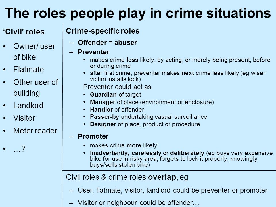 The roles people play in crime situations Civil roles Owner/ user of bike Flatmate Other user of building Landlord Visitor Meter reader ….