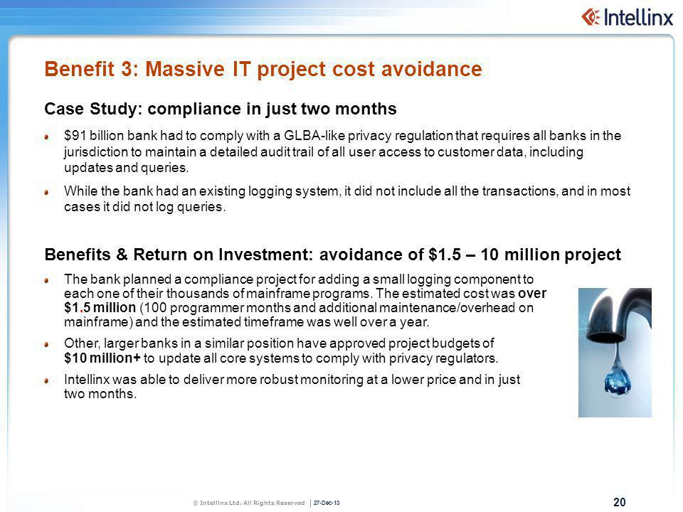 20 27-Dec-13 © Intellinx Ltd. All Rights Reserved Benefit 3: Massive IT project cost avoidance Case Study: compliance in just two months $91 billion b