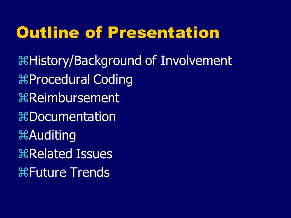 Outline of Presentation zHistory/Background of Involvement zProcedural Coding zReimbursement zDocumentation zAuditing zRelated Issues zFuture Trends