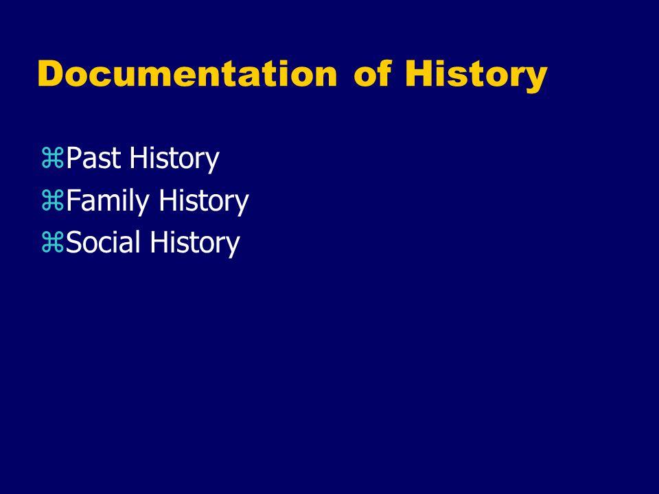 Documentation of History zPast History zFamily History zSocial History