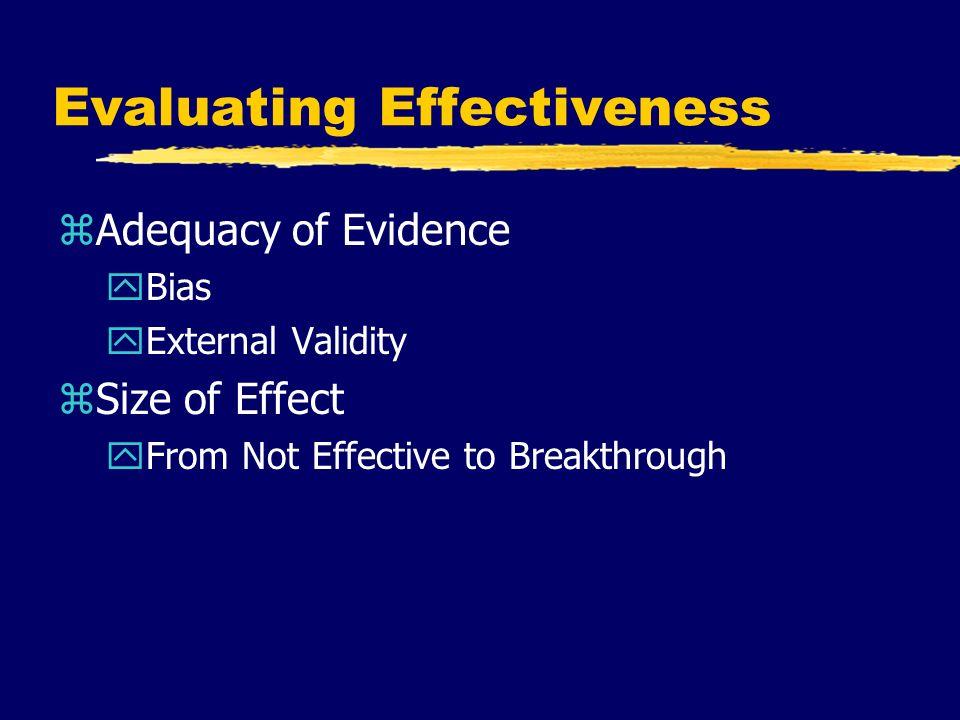 Evaluating Effectiveness zAdequacy of Evidence yBias yExternal Validity zSize of Effect yFrom Not Effective to Breakthrough