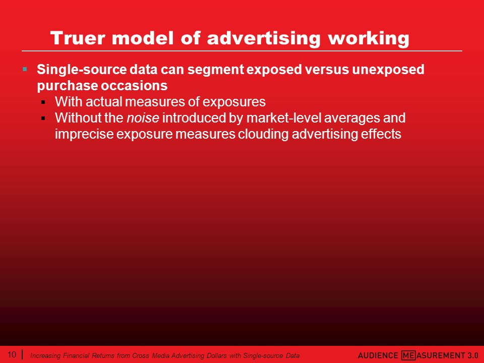 10 Increasing Financial Returns from Cross Media Advertising Dollars with Single-source Data Truer model of advertising working Single-source data can segment exposed versus unexposed purchase occasions With actual measures of exposures Without the noise introduced by market-level averages and imprecise exposure measures clouding advertising effects