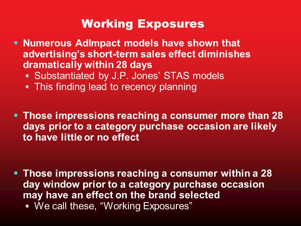 Working Exposures Numerous AdImpact models have shown that advertisings short-term sales effect diminishes dramatically within 28 days Substantiated by J.P.