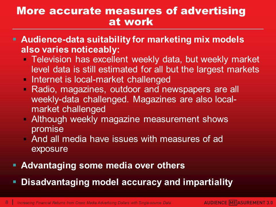 8 Increasing Financial Returns from Cross Media Advertising Dollars with Single-source Data More accurate measures of advertising at work Audience-dat