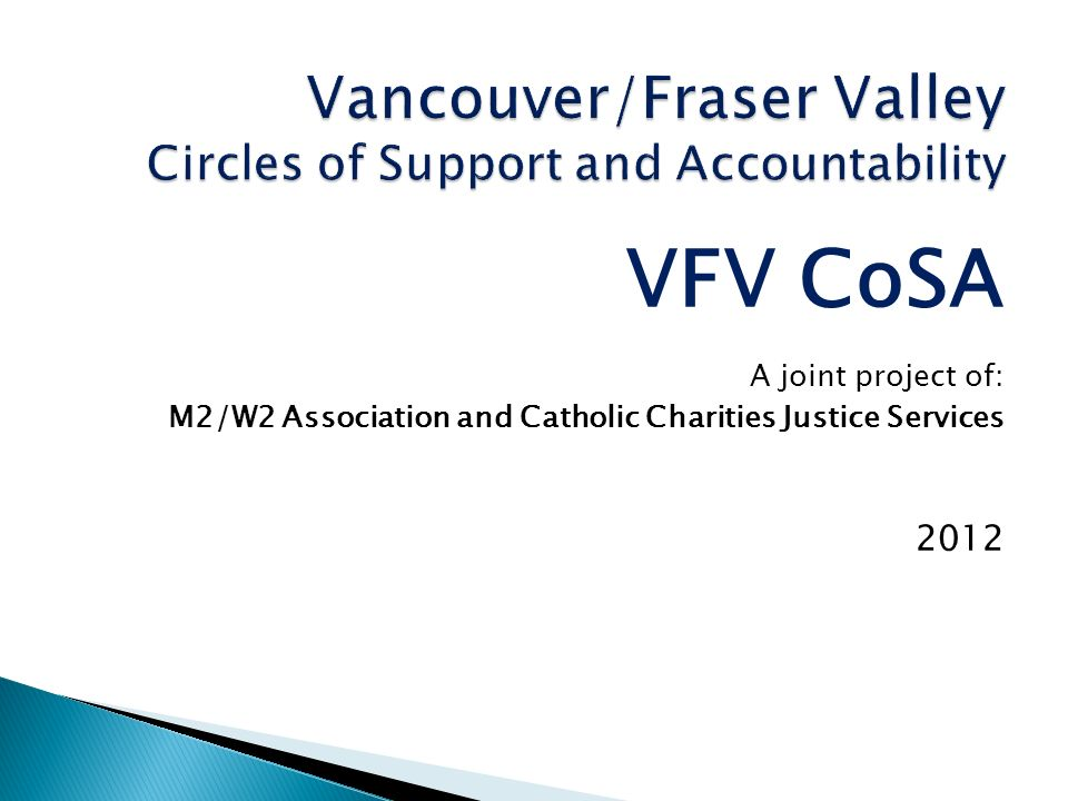 VFV CoSA A joint project of: M2/W2 Association and Catholic Charities Justice Services 2012