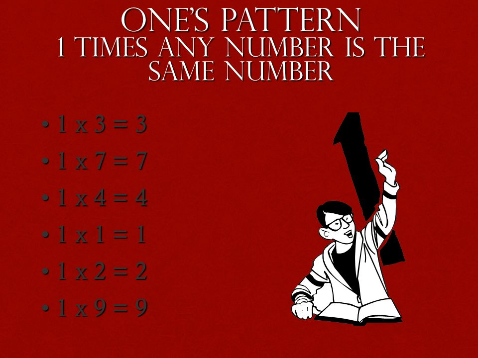 Ones Pattern 1 times any number is the same number 1x 3 = 3 1x 7 = 7 1x 4 = 4 1x 1 = 1 1x 2 = 2 1x 9 = 9
