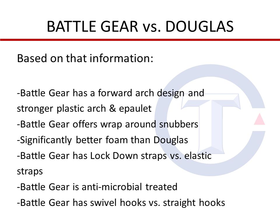 BATTLE GEAR vs. DOUGLAS Based on that information: -Battle Gear has a forward arch design and stronger plastic arch & epaulet -Battle Gear offers wrap
