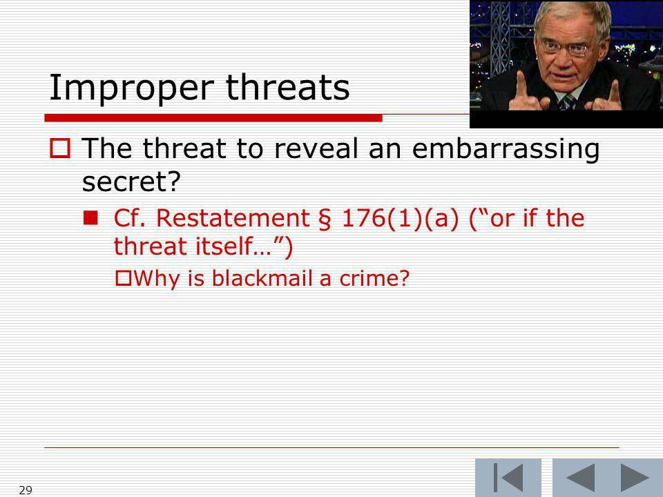 Improper threats The threat to reveal an embarrassing secret.