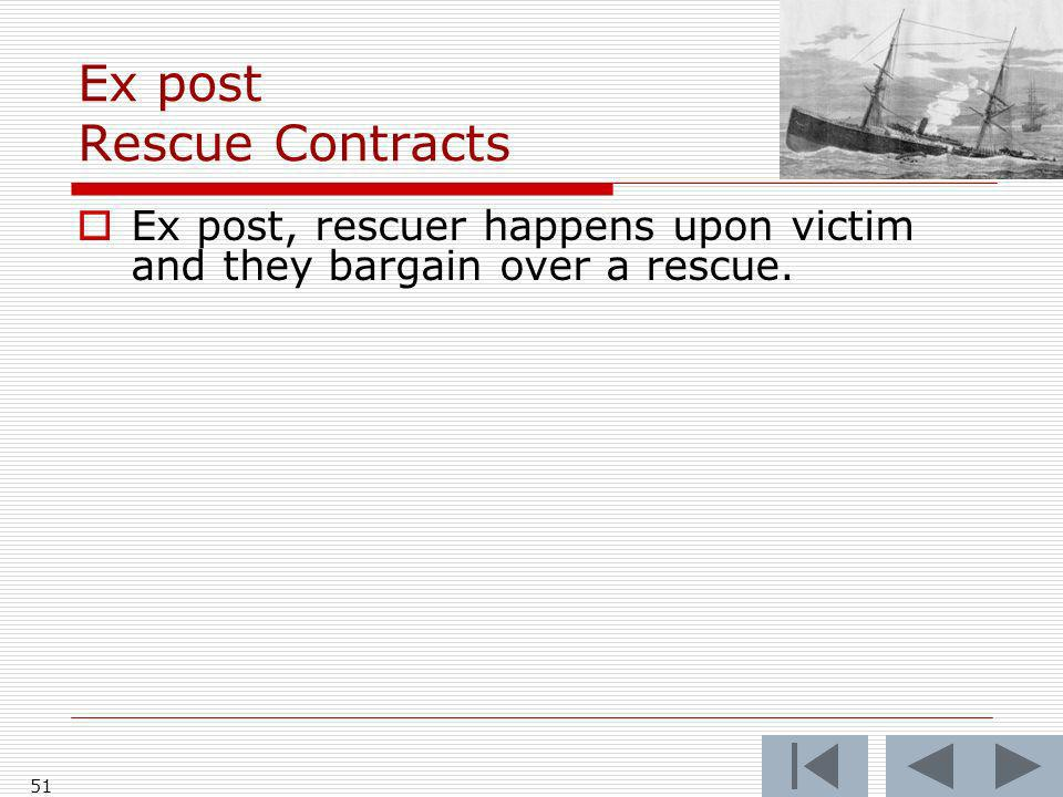 Ex post Rescue Contracts Ex post, rescuer happens upon victim and they bargain over a rescue. 51
