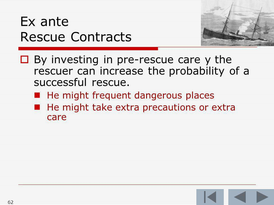 Ex ante Rescue Contracts By investing in pre-rescue care y the rescuer can increase the probability of a successful rescue.