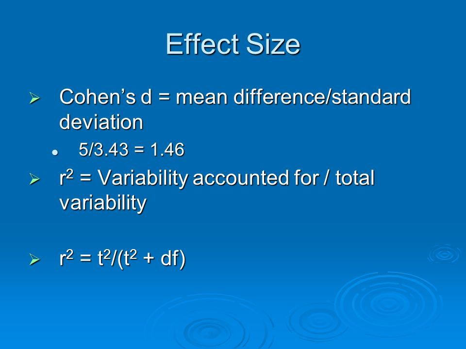 Effect Size Cohens d = mean difference/standard deviation Cohens d = mean difference/standard deviation 5/3.43 = 1.46 5/3.43 = 1.46 r 2 = Variability accounted for / total variability r 2 = Variability accounted for / total variability r 2 = t 2 /(t 2 + df) r 2 = t 2 /(t 2 + df)