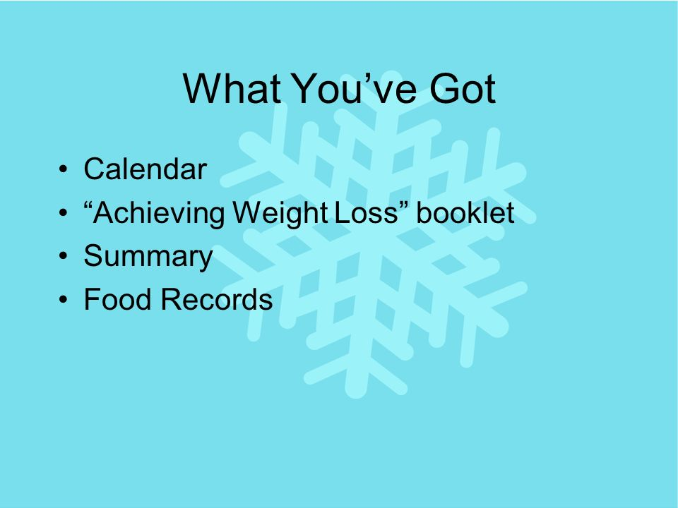 What Youve Got Calendar Achieving Weight Loss booklet Summary Food Records