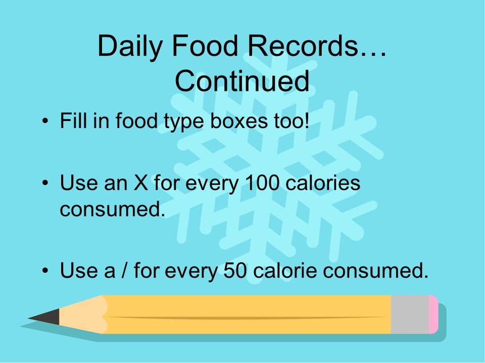 Daily Food Records… Continued Fill in food type boxes too.